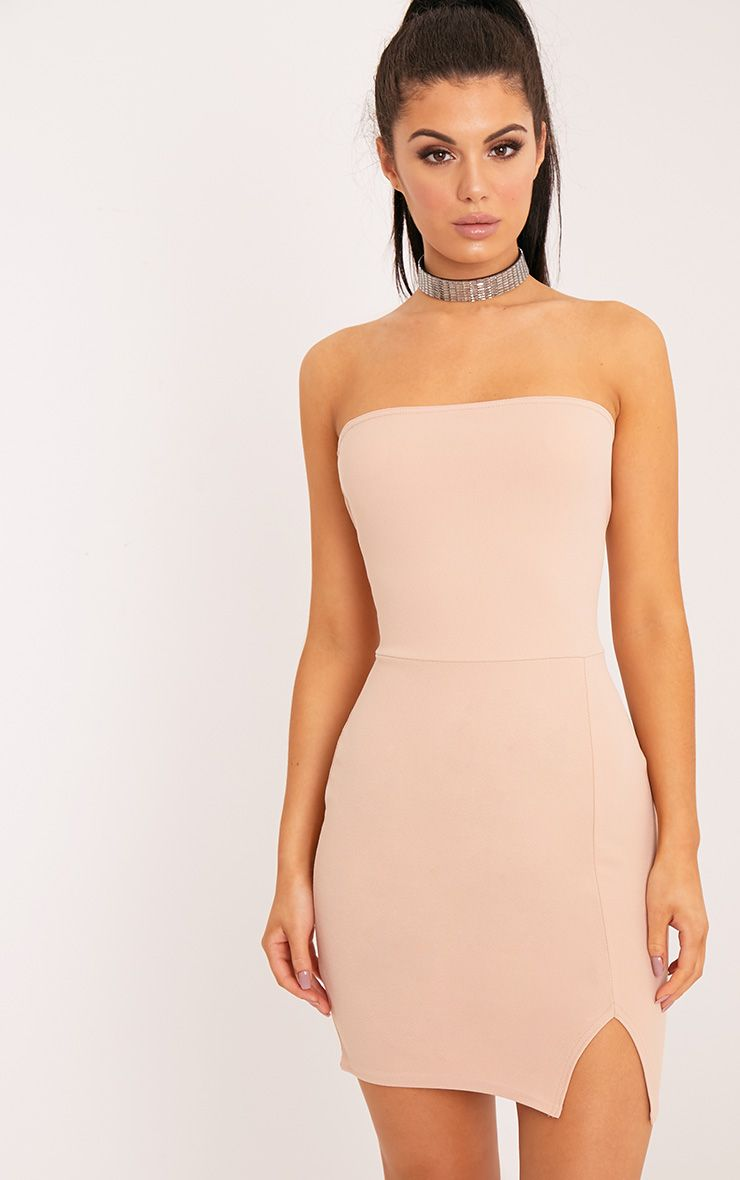 Layala Nude Split Detail Bandeau Bodycon Dress