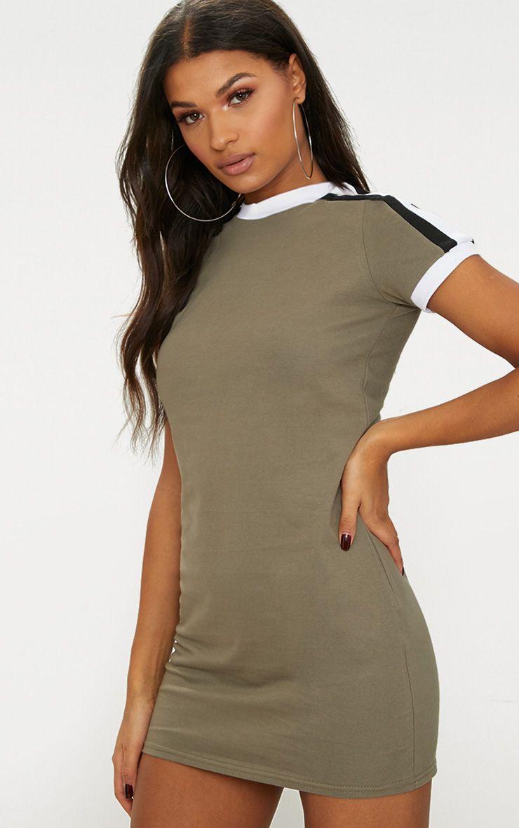 Khaki Triple Stripe Shoulder T Shirt Dress