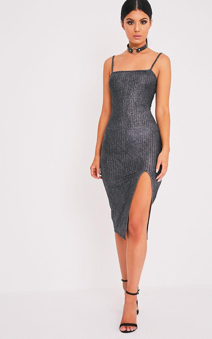 Heidy Silver Side Split Ribbed Midi Dress