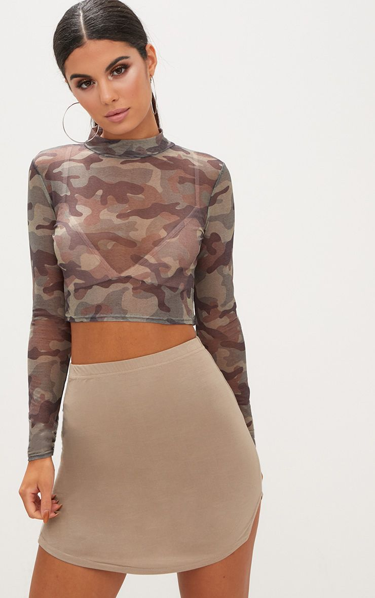 Taupe Double Side Split Mini Skirt