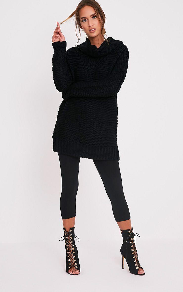 Camarina Black Roll Neck Chunky Knit Jumper 5