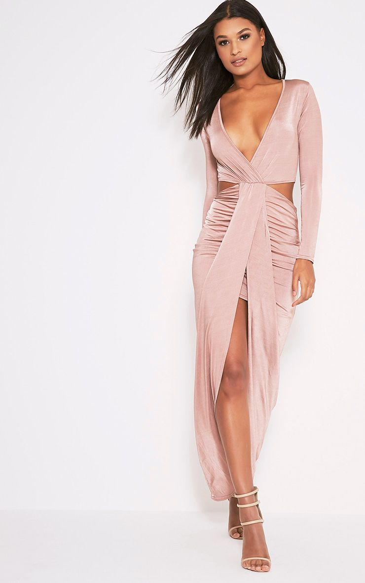 Bria Dusty Pink Wrap Front Drape Detail Maxi Dress