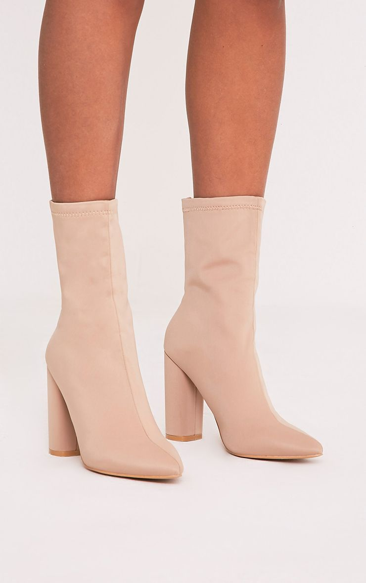 Addie Nude Neoprene Pointed Sock Boots