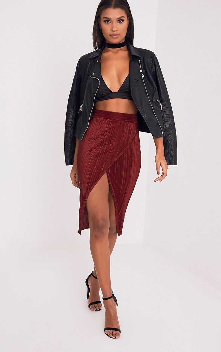Leola Burgundy Pleated Wrap Midi Skirt
