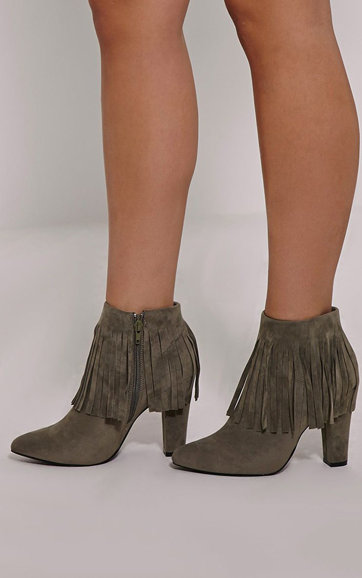 Ribah Khaki Tassel Ankle Boots 1