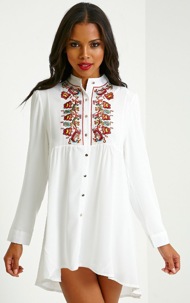 Melania White Embroidered Sheer Shirt Dress