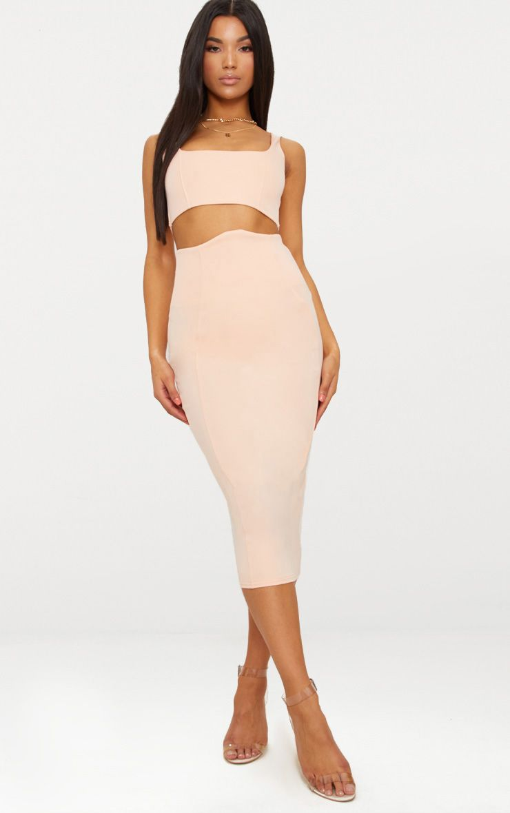 Blush Super High Waisted Midi Skirt