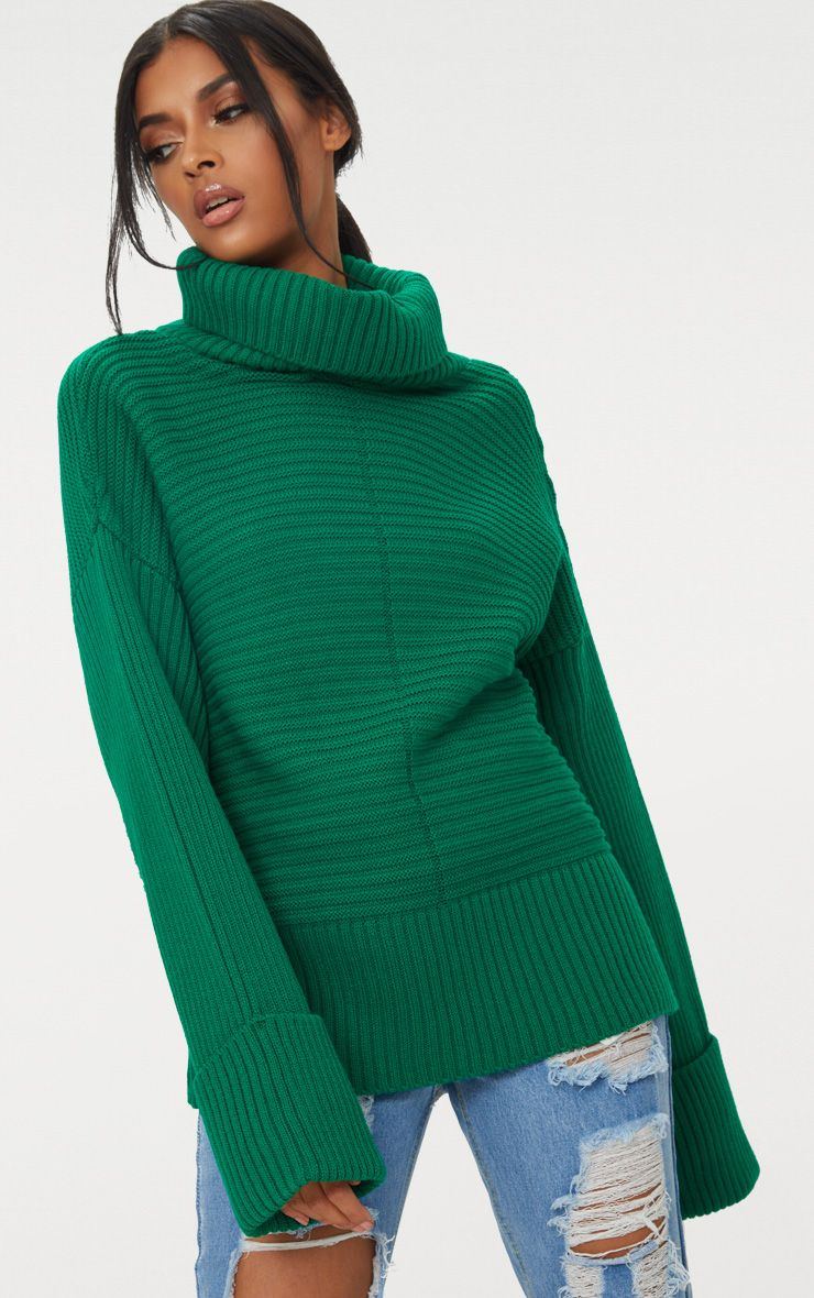 Emerald Green Extreme Sleeve Roll Neck Jumper