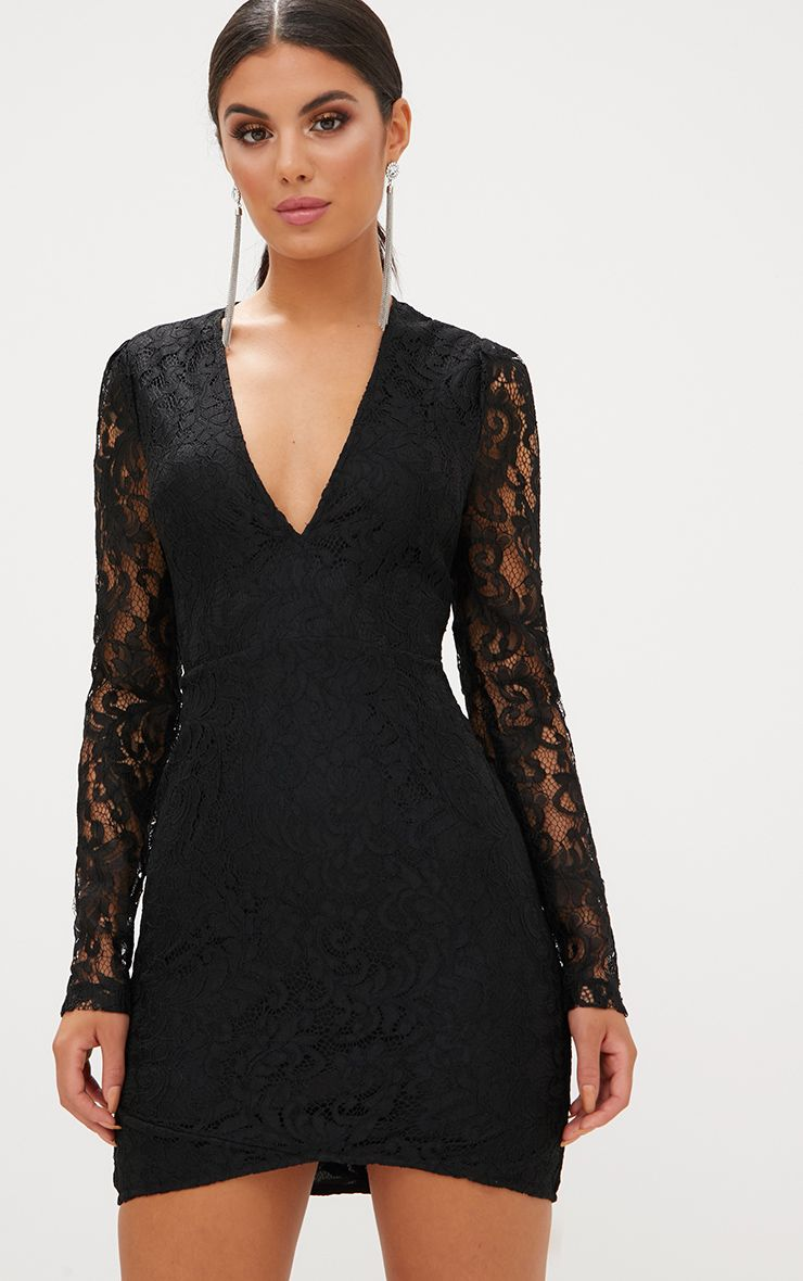 Black Plunge Long Sleeved Lace Bodycon Dress