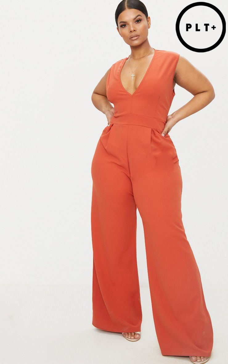 8f598f2f1a plus-rust-plunge-wide-leg-jumpsuit by prettylittlething