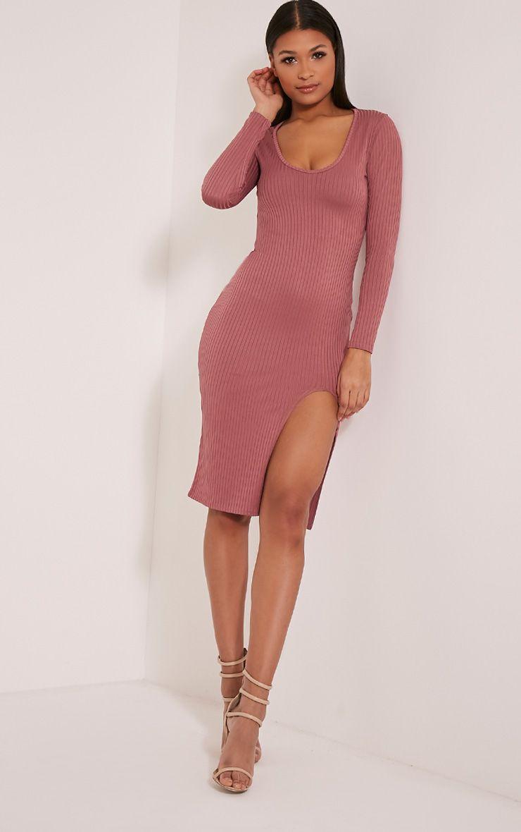 Meelia Rose Plunge Neck Ribbed Midi Dress 1