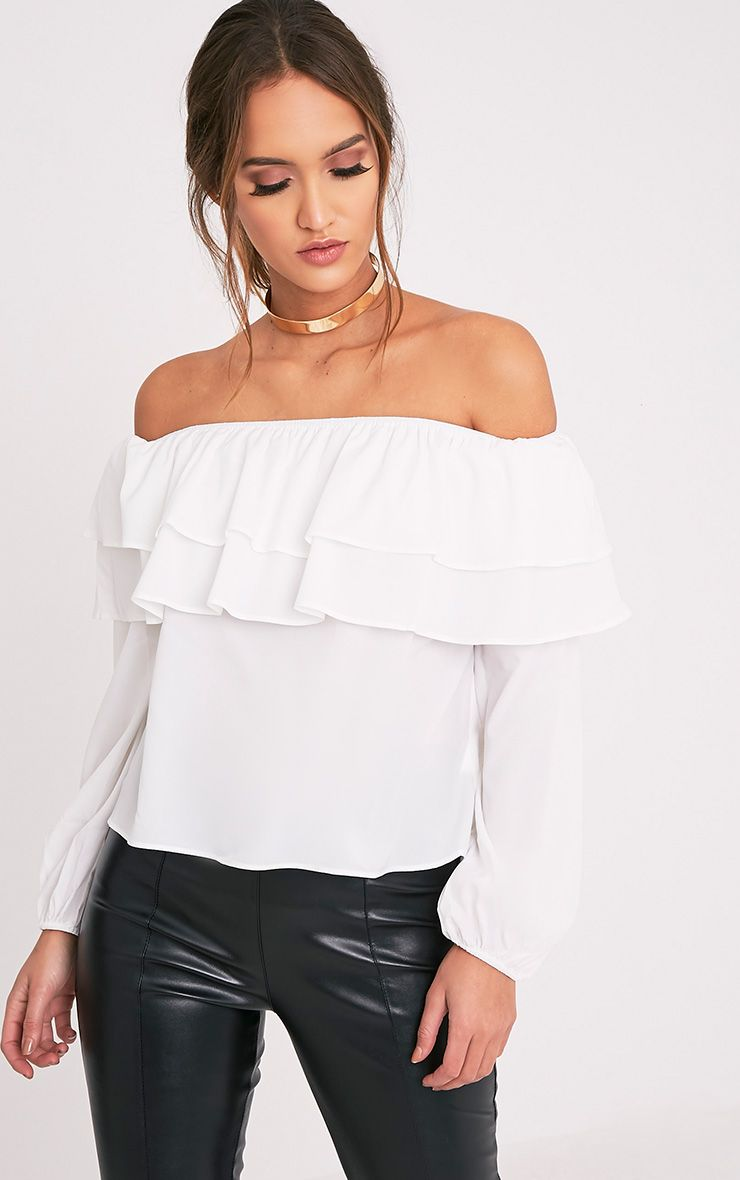 Hollee Cream Bardot Frill Longsleeve Top