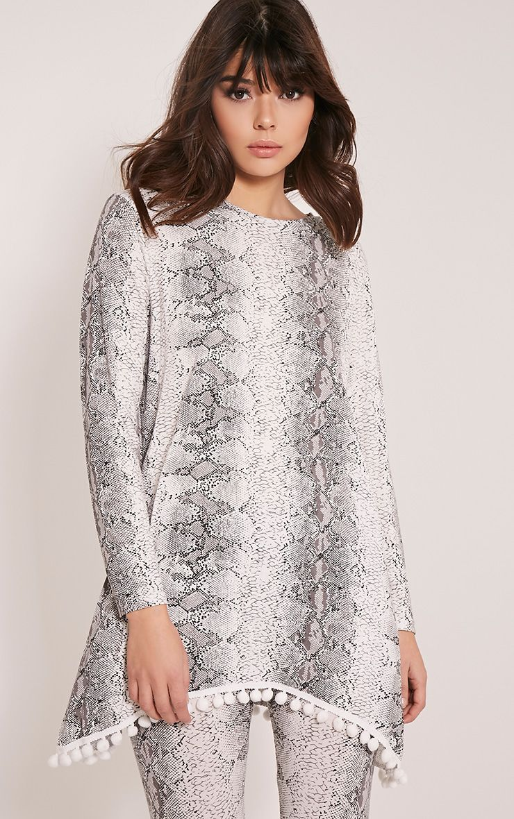 Lilly White Snake Print Pom Pom Loungesuit Top 1