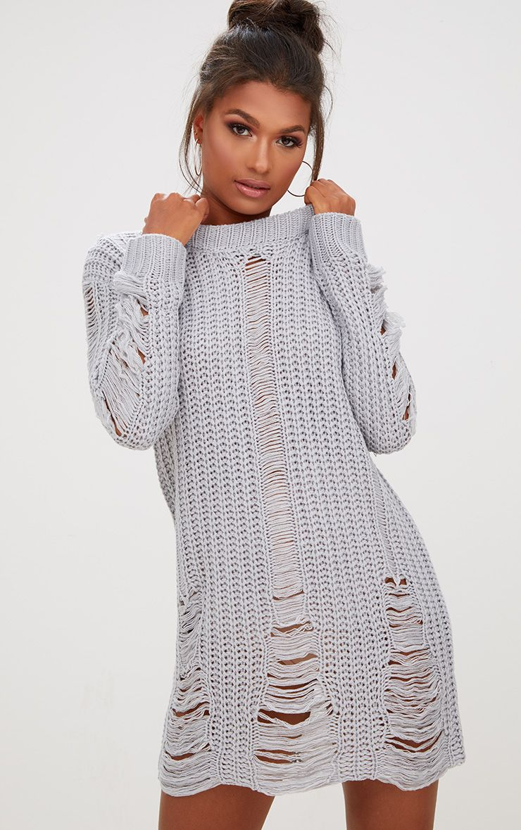 Grey Shred Distress Jumper Dress