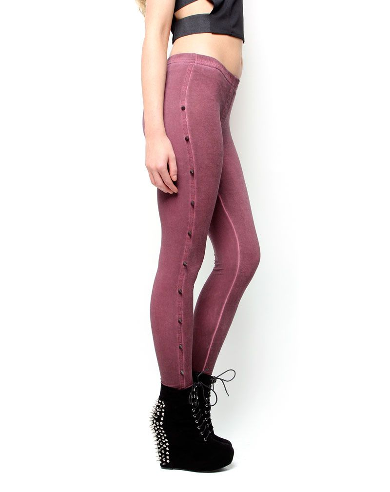 Leah Burgundy Spike Leggings  1
