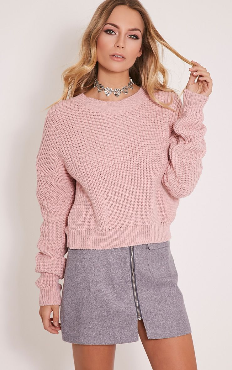 Cara Blush Knitted Crop Jumper