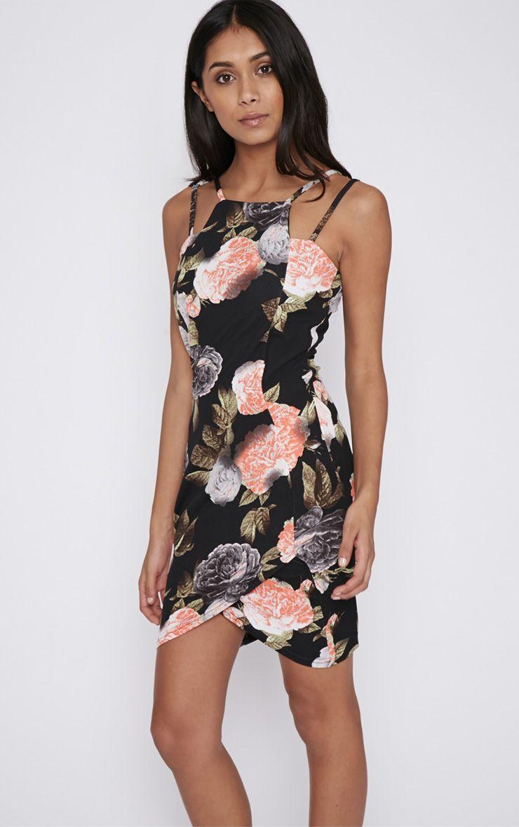 Sariya Black Floral Mini Dress 1
