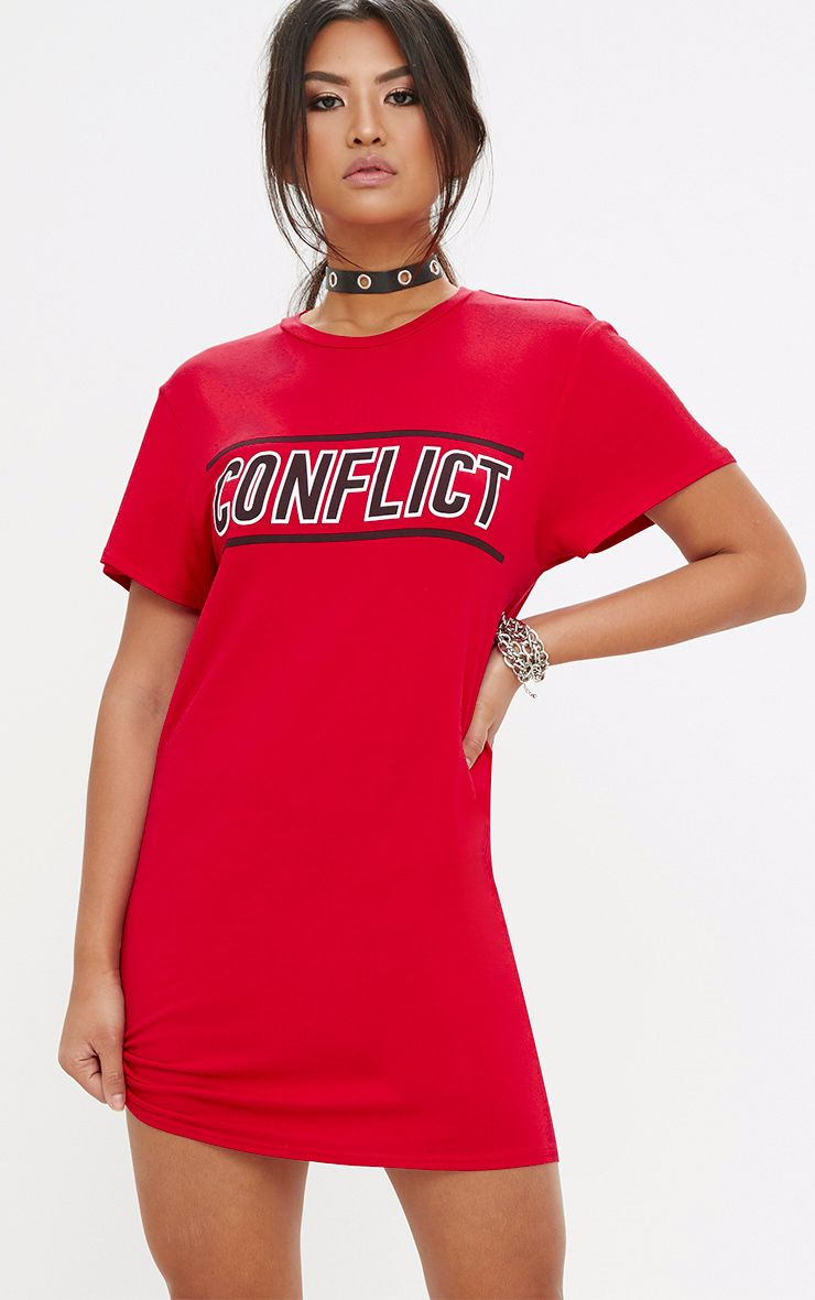 Red Conflict T Shirt Dress