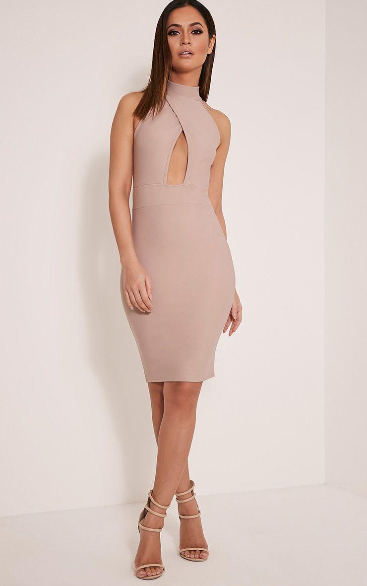 Torie Taupe Keyhole Wrap Midi Dress