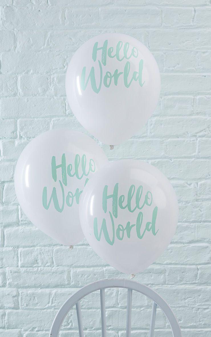 White Hello World Baby Shower Balloons