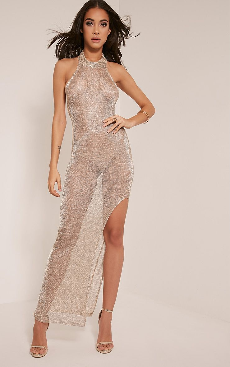 Dido Sheer Gold Halterneck Metallic Knitted Maxi Dress