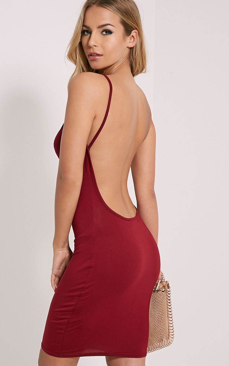 Natallia Burgundy Scoop Back Dress 1