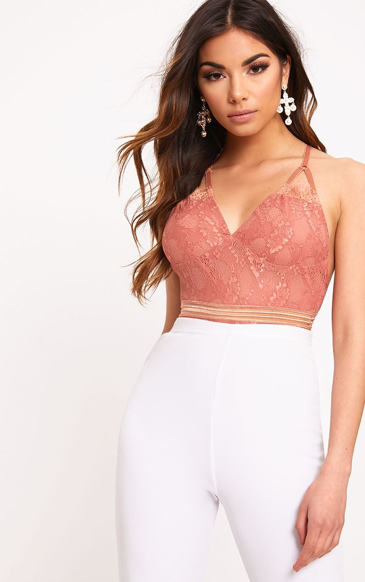 Emsie Dusty Coral Cut Out Detail Lace Thong Bodysuit