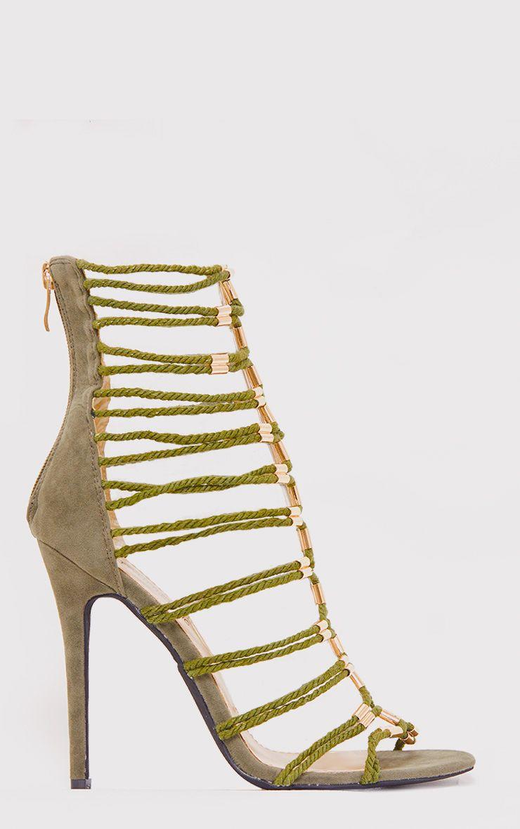 Fern Khaki Rope Detail Gladiator Heels