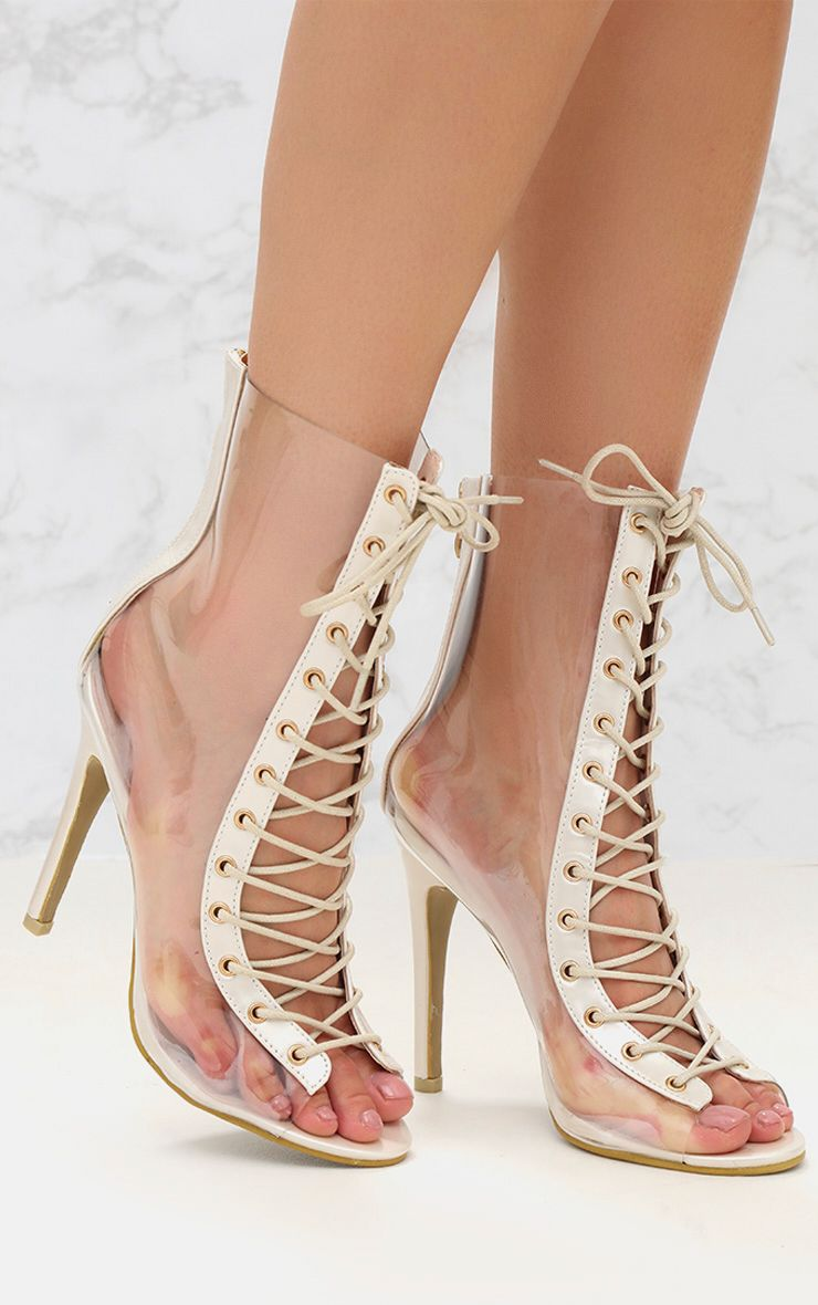 White Lace Up Clear Ankle Boot