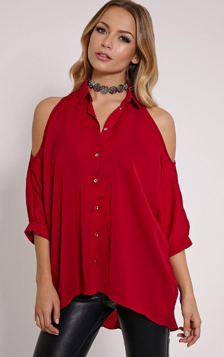Isa Red Cold Shoulder Drop Back Shirt 1