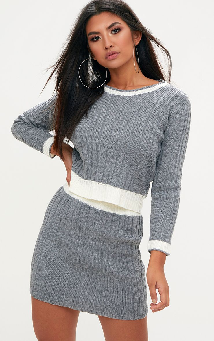 Grey Tipped Skirt Set
