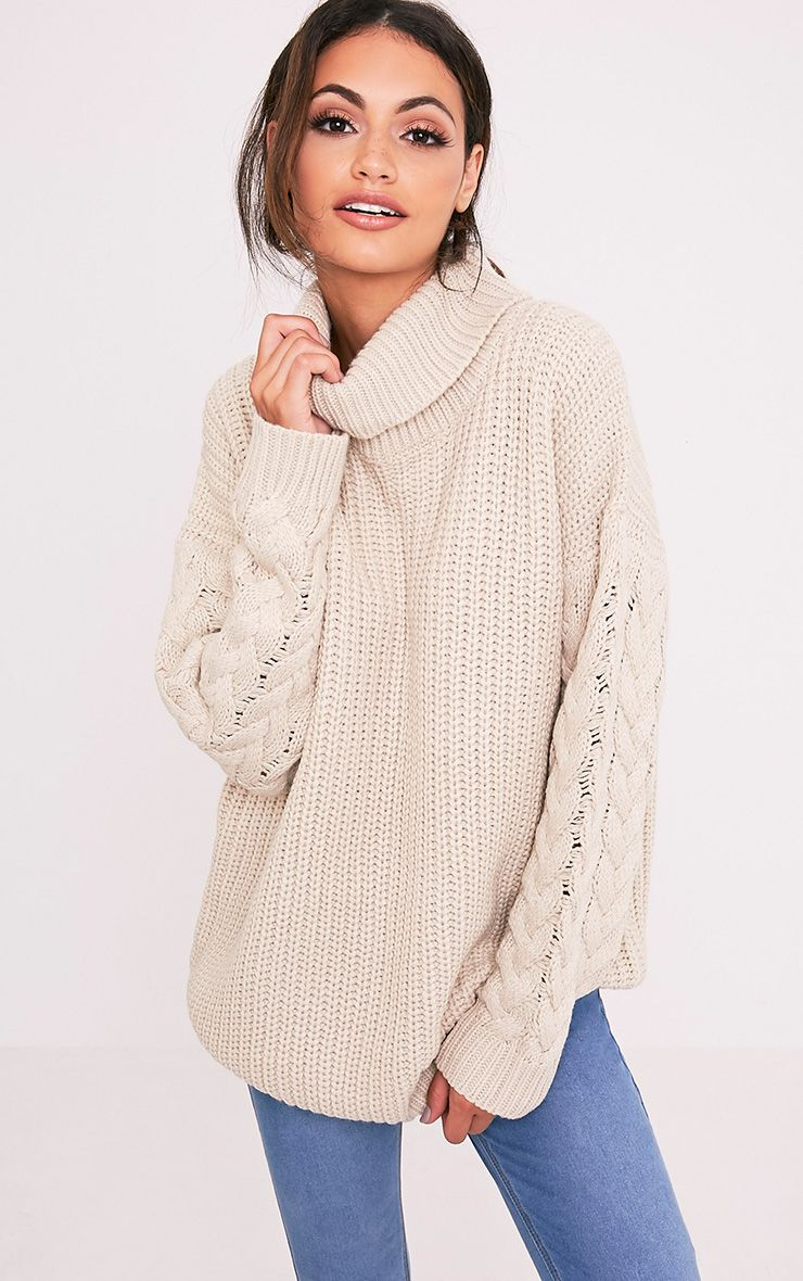 Finolla Stone Oversized Cable Knit Sleeve Jumper 1