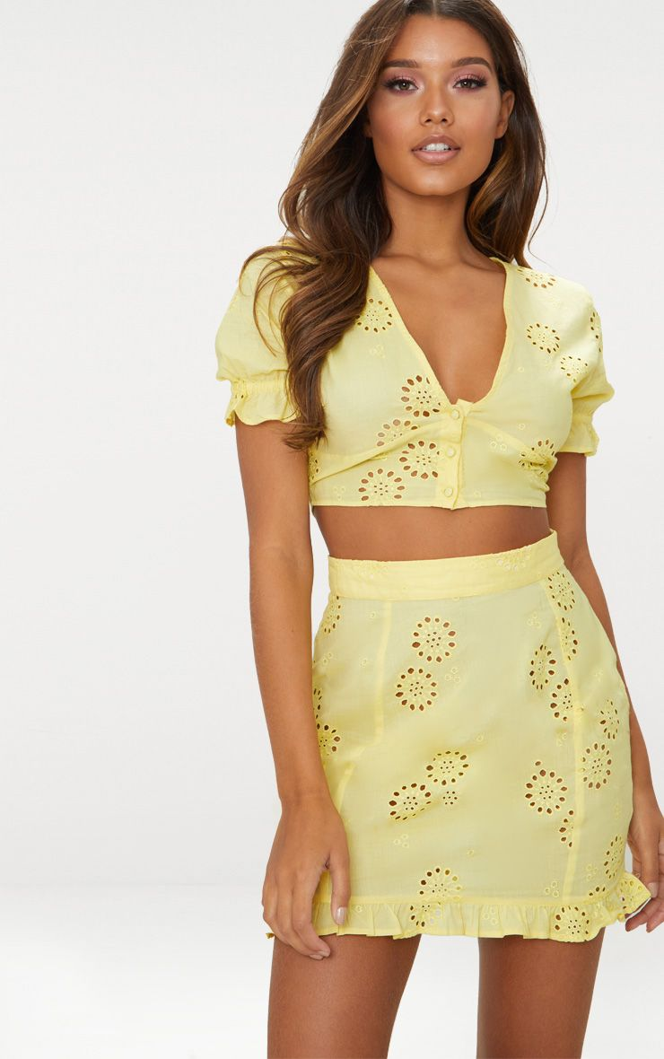 Lemon Embroidered Button Detail Crop Top