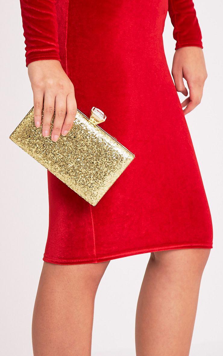 Dinnie Gold Glitter Box Clutch Bag
