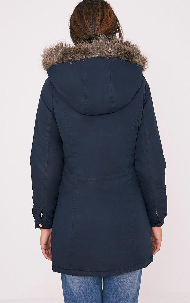 Abra Navy Faux Fur Trim Hooded Parka 2