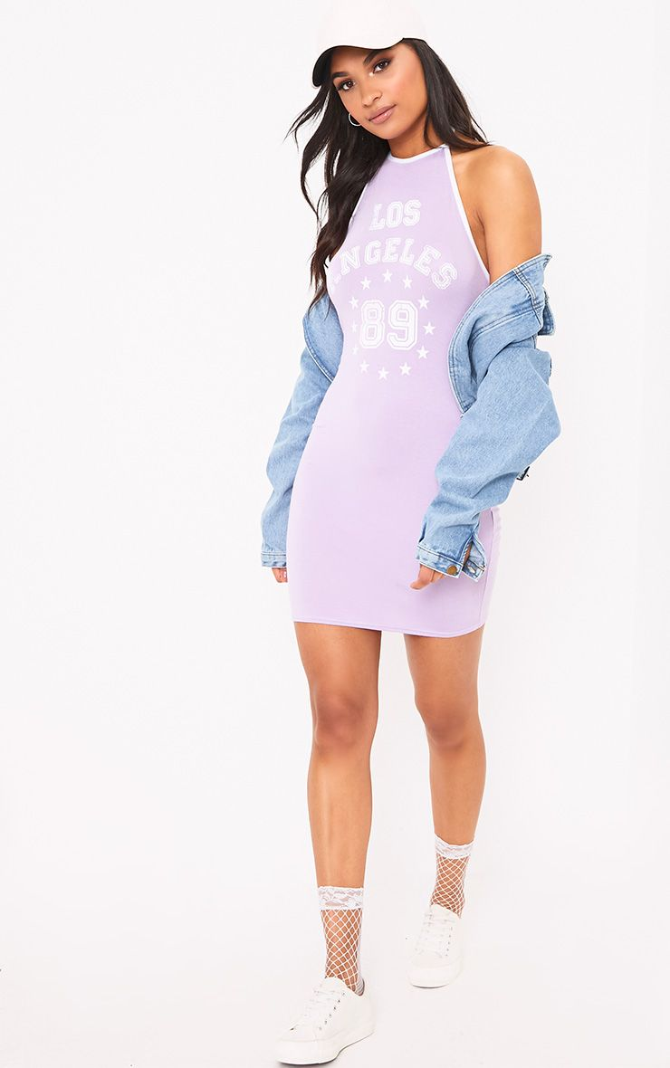 Lilac Los Angeles Strappy Halter Bodycon Dress 1