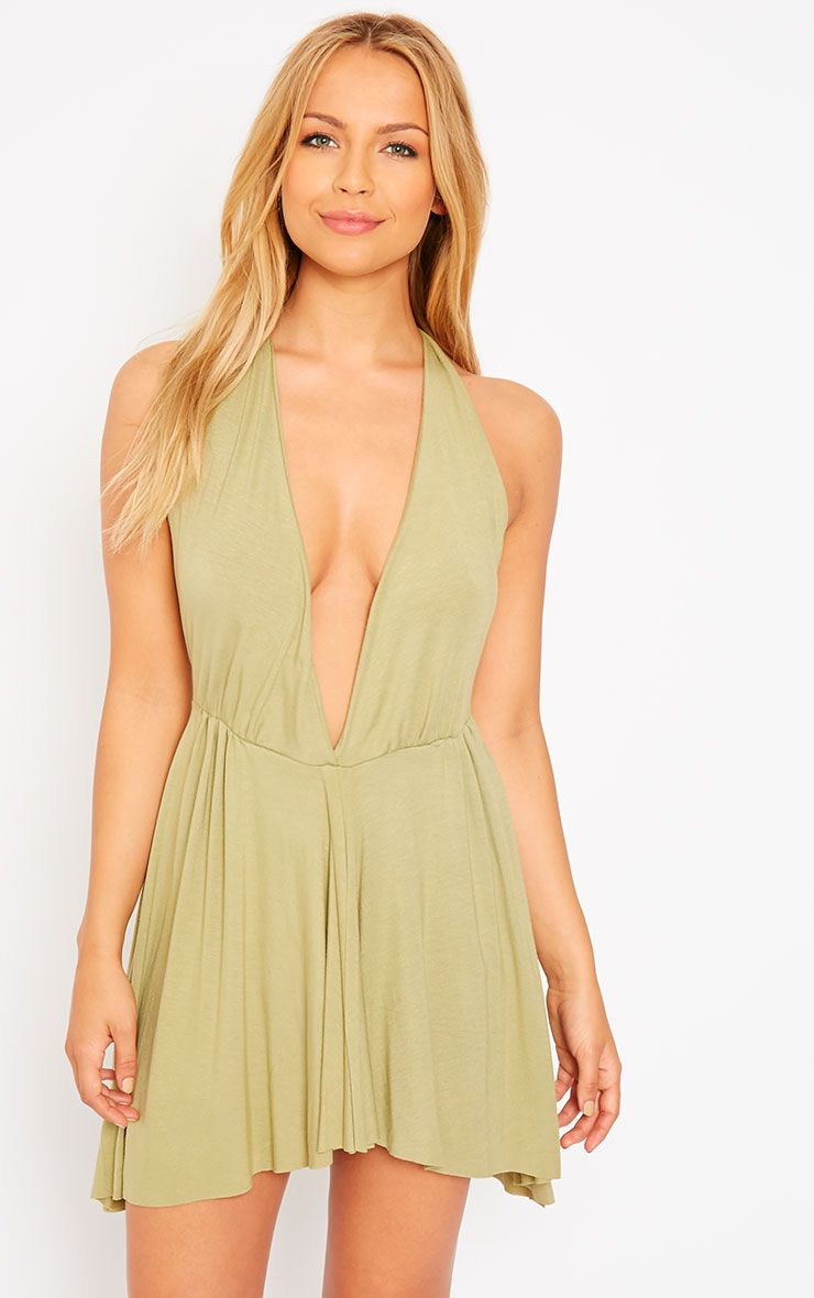 Aria Khaki Plunge Jersey Dress 1