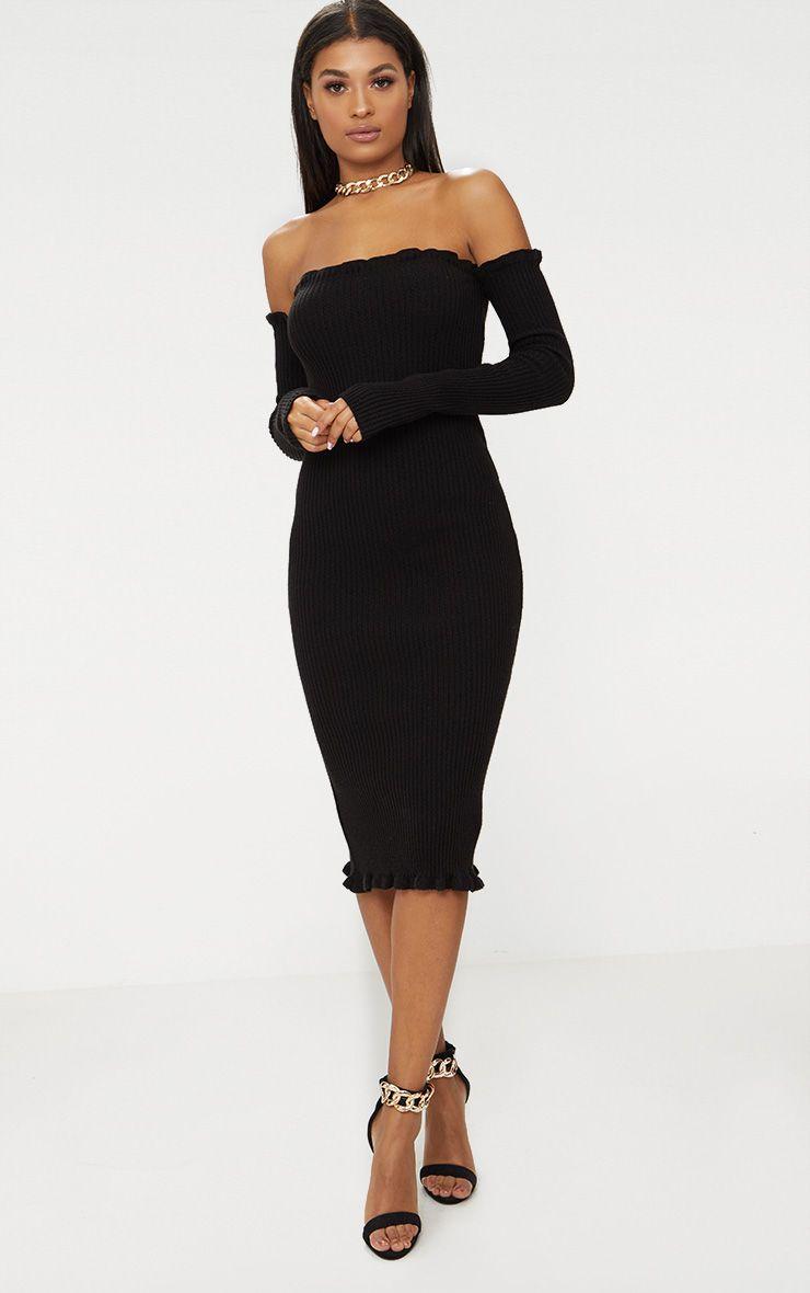 Black Ruffle Bardot Knitted Midaxi