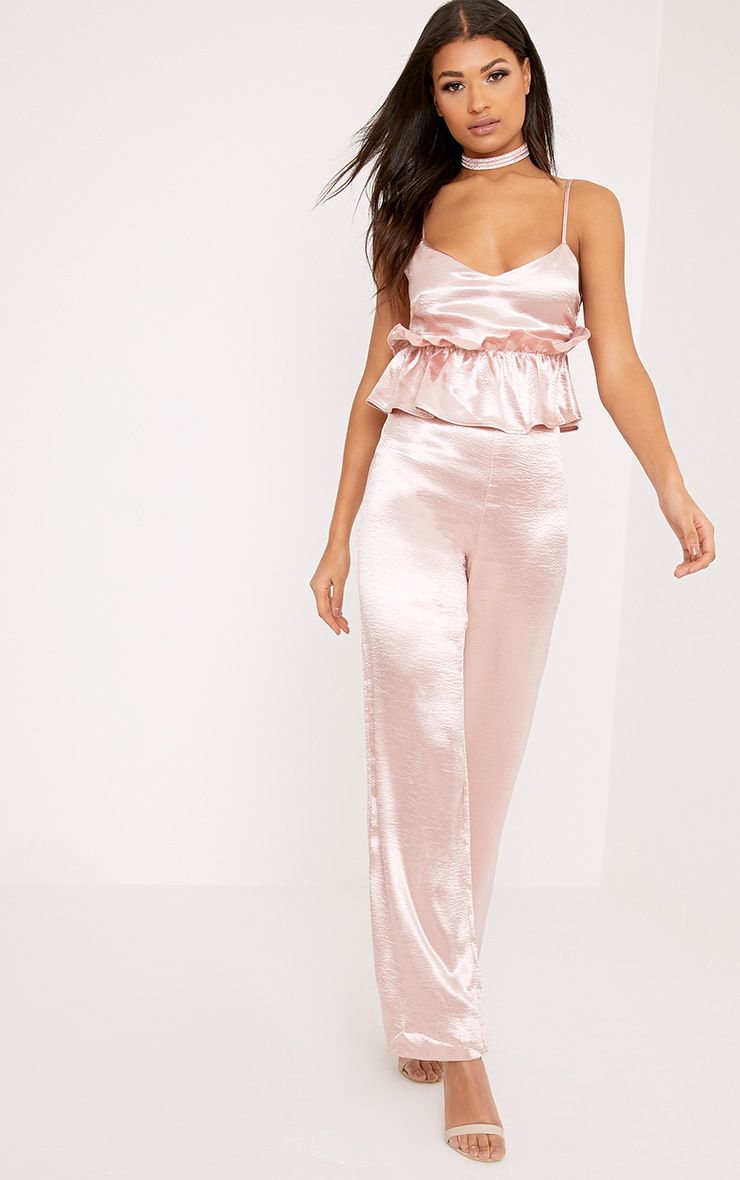 Abi Pink Hammered Satin Frill Middle Jumpsuit