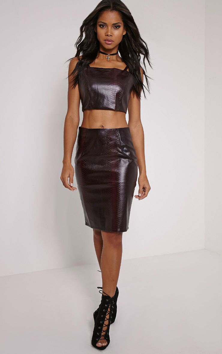 Mollie Wine Snake Print Faux Leather Midi Skirt 1