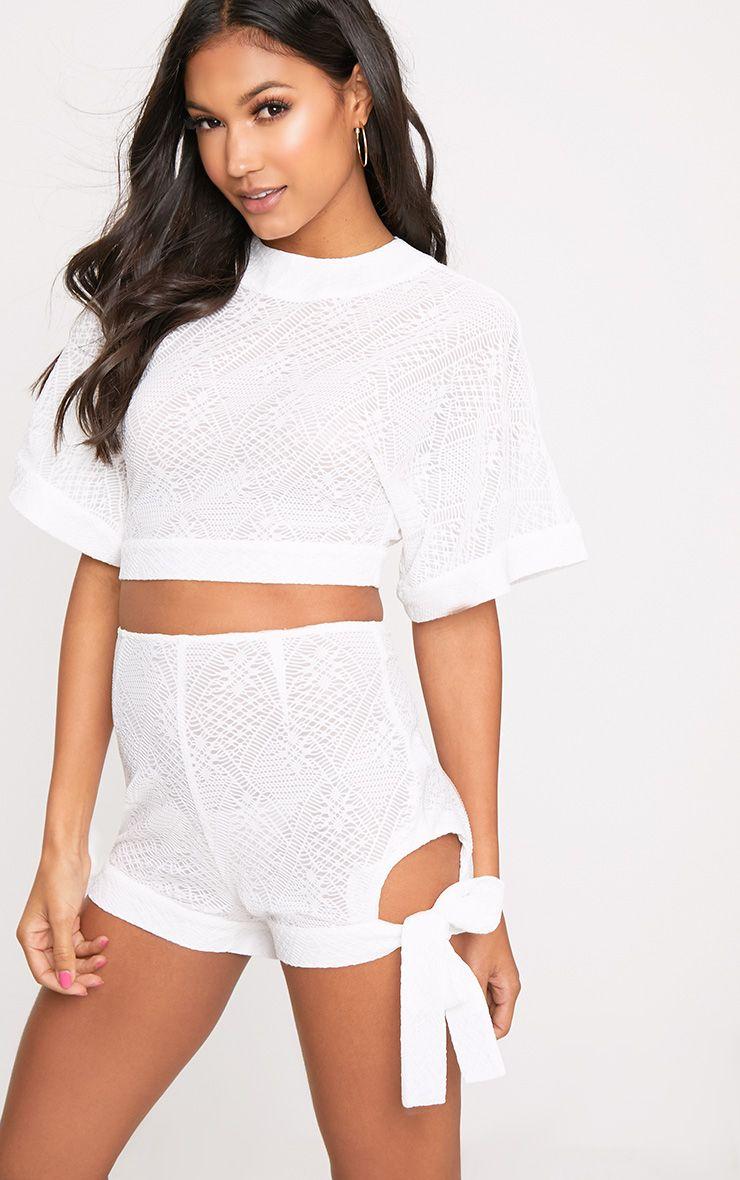 White Cut Out Tie Hem Shorts