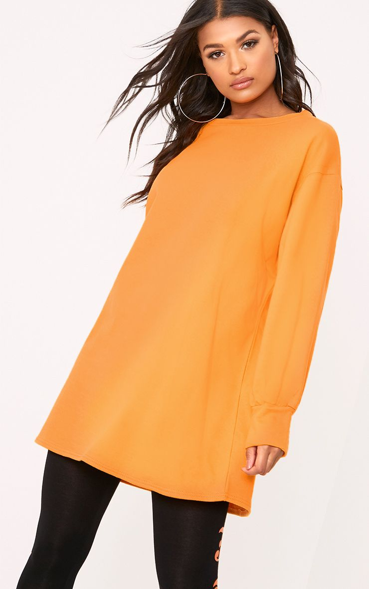 Sianna Orange Oversized Sweater Dress 1