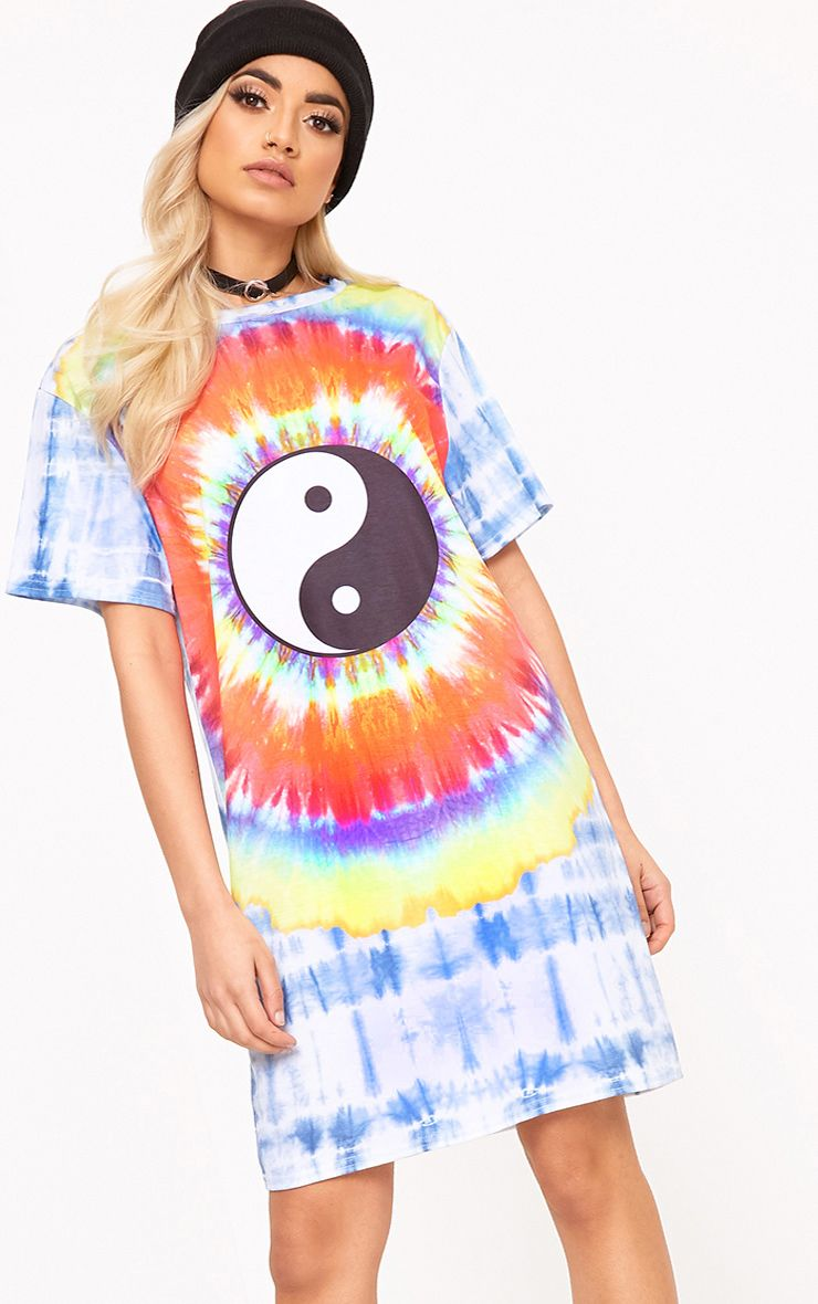 Tasmin Multi Tie Dye Ying Yang T Shirt Dress