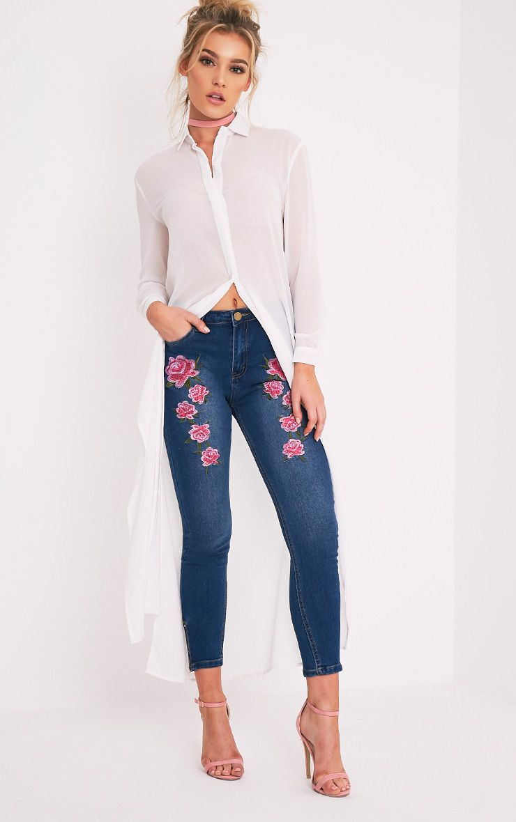 Khloe Mid Wash Embroidered High Waisted Skinny Jean