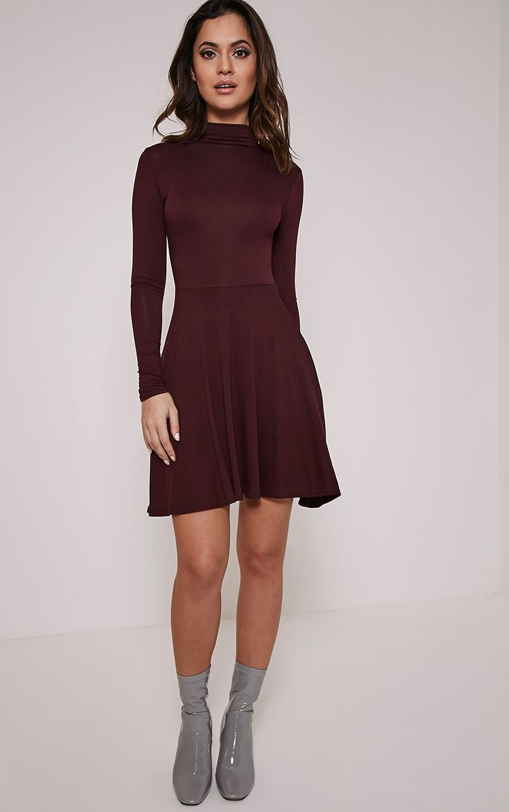 Basic Plum High Neck Skater Dress 1