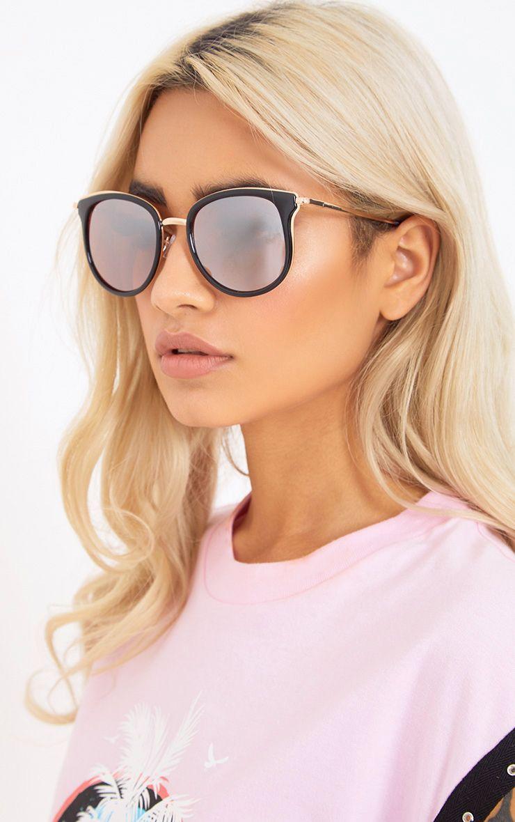 Lorrie Black Round Lens Sunglasses