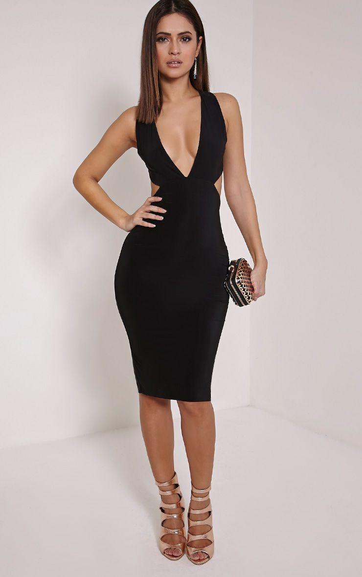 Petite Biddy Black Deep Plunge Midi Dress 1