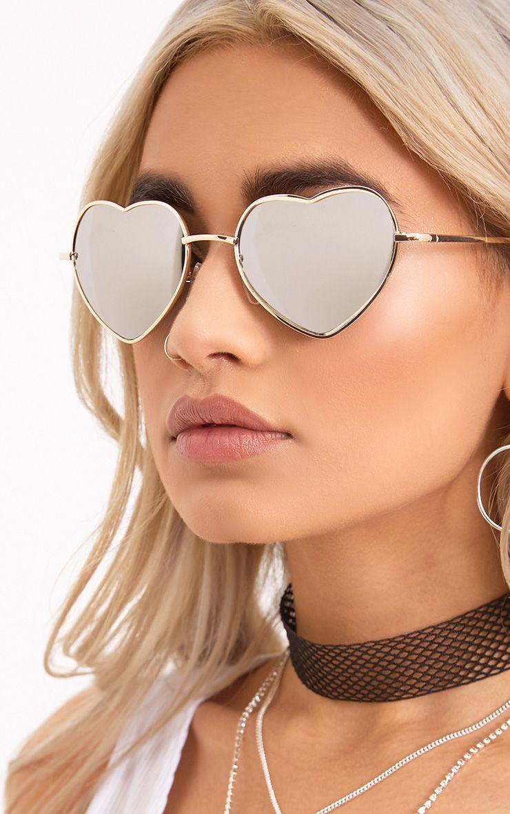 Mohawk Silver Heart Frame Tinted Lens Sunglasses