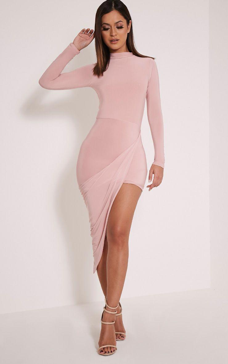 Saffy Dusty Pink Slinky Drape Asymmetric Dress 1