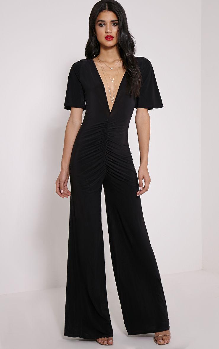 Valora Black Slinky Ruched Front Jumpsuit 1